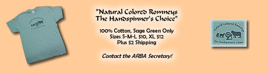 "ARBA T-Shirts - $10 to $12 plus $2 shipping - ""Natural Colored Romneys The Handspinner's Choice"""