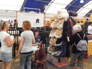 Elaine Thompson with her fleece and yarn display